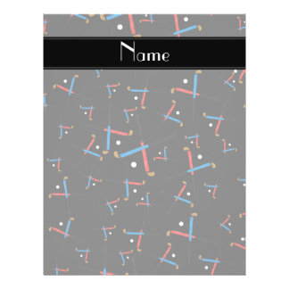 Personalized name black field hockey pattern 21.5 cm x 28 cm flyer