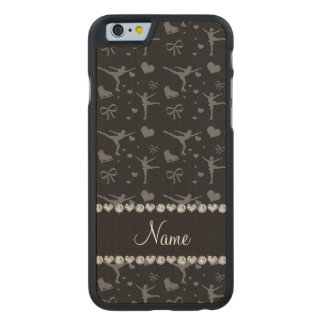 Personalized name black figure skating carved® maple iPhone 6 slim case