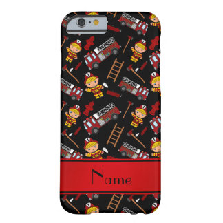 Personalized name black firemen trucks ladders barely there iPhone 6 case
