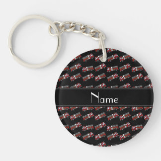 Personalized name black firetrucks acrylic key chain