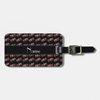 Personalized name black firetrucks luggage tag