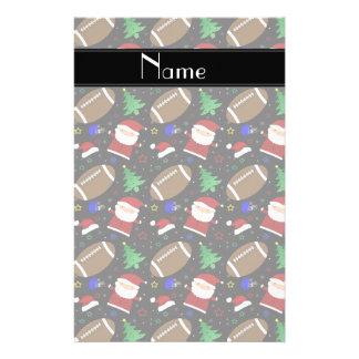 Personalized name black football christmas customized stationery