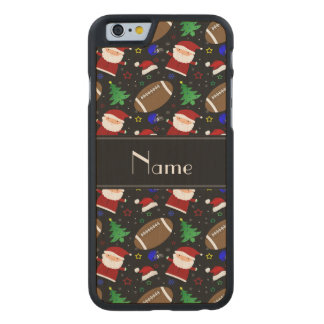 Personalized name black football christmas carved® maple iPhone 6 slim case