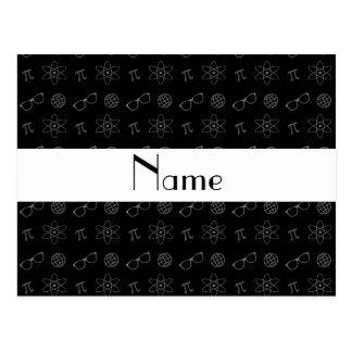 Personalized name black geek pattern postcard