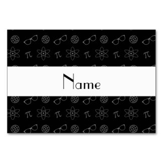 Personalized name black geek pattern table cards