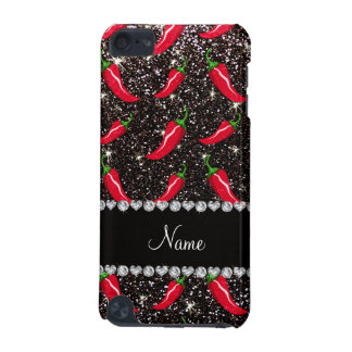 Personalized name black glitter chili pepper iPod touch (5th generation) case
