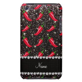 Personalized name black glitter chili pepper iPod touch Case-Mate case