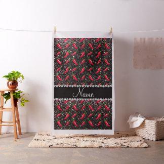 Personalized name black glitter chili pepper fabric
