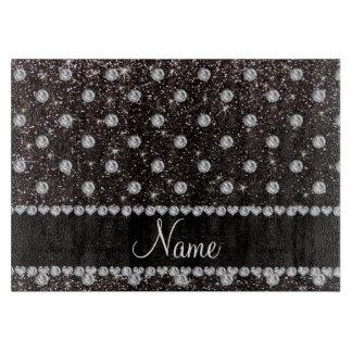 Personalized name black glitter diamonds cutting board