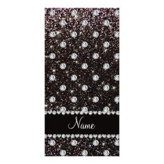 Personalized name black glitter diamonds custom photo card