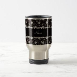 Personalized name black glitter diamonds stainless steel travel mug