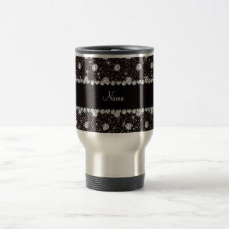 Personalized name black glitter diamonds travel mug