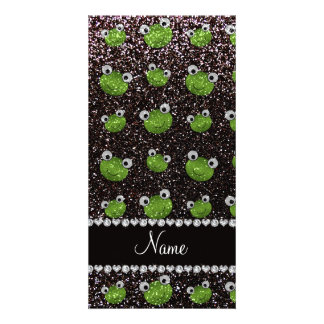 Personalized name black glitter frogs photo greeting card