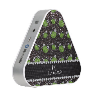 Personalized name black glitter frogs bluetooth speaker