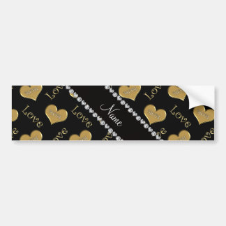 Personalized name black gold hearts mom love bumper sticker