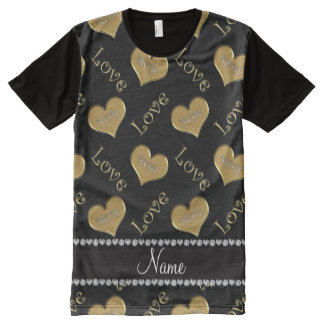 Personalized name black gold hearts mom love All-Over print T-Shirt