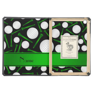 Personalized name black golf balls tees case for iPad air