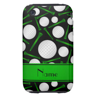 Personalized name black golf balls tees tough iPhone 3 cover