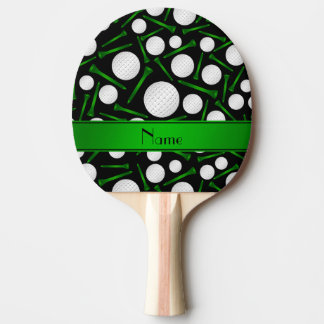 Personalized name black golf balls tees ping pong paddle