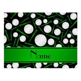 Personalized name black golf balls tees post cards