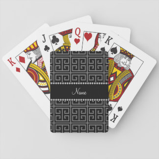 Personalized name black greek key pattern playing cards
