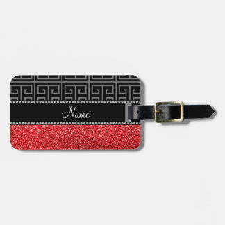 Personalized name black greek key red glitter luggage tag