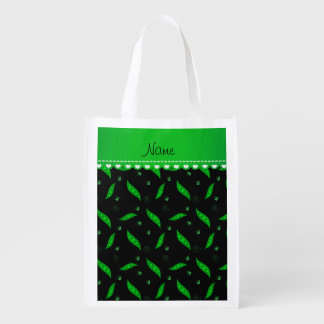 Personalized name black green peapods reusable grocery bag