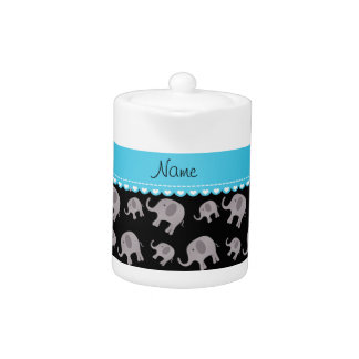 Personalized name black grey elephants