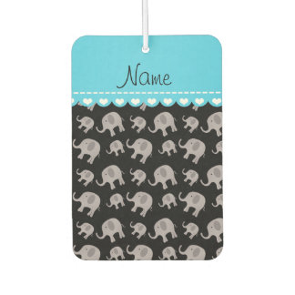 Personalized name black grey elephants car air freshener