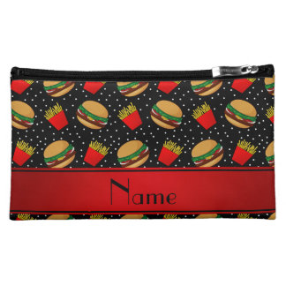 Personalized name black hamburgers fries dots makeup bags