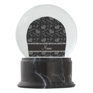 Personalized name black i love cheerleading hearts snow globes