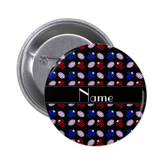 Personalized name black jerseys rugby balls pin