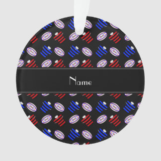 Personalized name black jerseys rugby balls ornament
