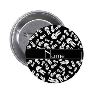 Personalized name black karate pattern pinback button