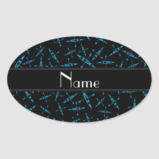 Personalized name black kayaks oval sticker