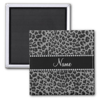 Personalized name black leopard pattern square magnet