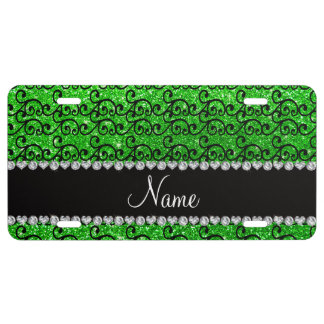 Personalized name black lime green glitter swirls license plate