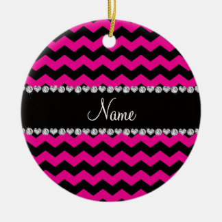 Personalized name black neon hot pink chevrons christmas ornament