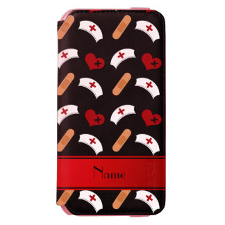 Personalized name black nurse pattern incipio watson™ iPhone 6 wallet case