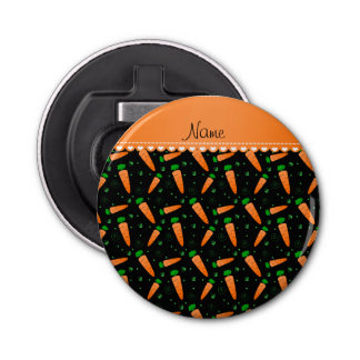 Personalized name black orange carrots bottle opener