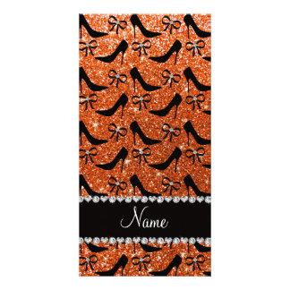 Personalized name black orange glitter high heels customized photo card