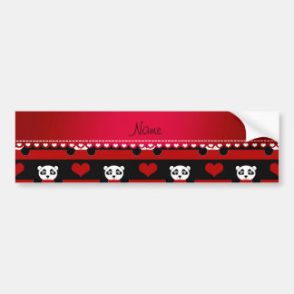 Personalized name black panda red heart stripes bumper sticker