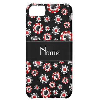 Personalized name black poker chips iPhone 5C case