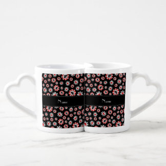 Personalized name black poker chips couple mugs