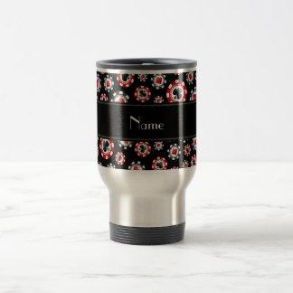 Personalized name black poker chips mug