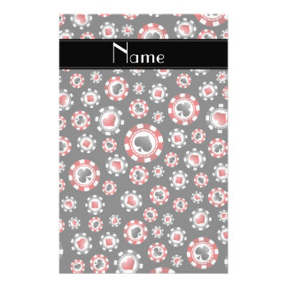 Personalized name black poker chips personalized stationery