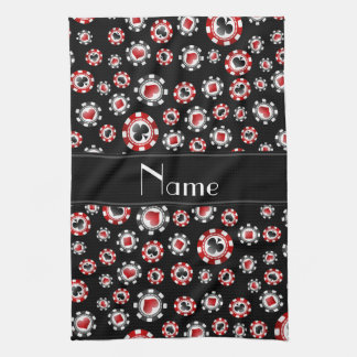 Personalized name black poker chips tea towel