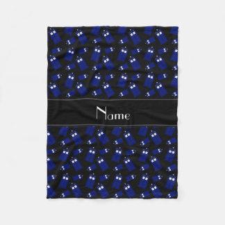 Personalized name black police box fleece blanket