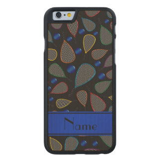 Personalized name black racquetball pattern carved® maple iPhone 6 slim case