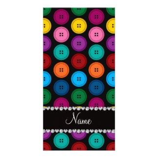 Personalized name black rainbow buttons pattern photo card